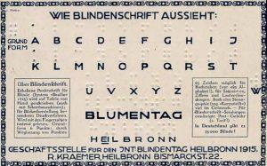 Blindenschriftkarte von 1915